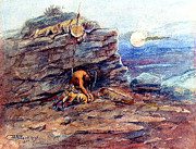 Chief Paintings - Mourning Her Warrior Dead by Charles Marion Russell by Pg Reproductions