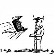 Comic Drawings - Mouse VS. Buffalo by Karl Addison