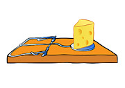Isolated Drawings Prints - Mousetrap With Cheese - Trap Print by Michal Boubin
