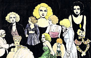 Harlow Drawings Framed Prints - Movie Ladies Montage Framed Print by Mel Thompson
