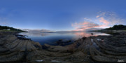 Panoramic Digital Art Originals - Moville Shoreline at Dusk by George Row