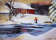 Cross-country Skiing Paintings - Moving into Winter Haven by Nancy Griswold