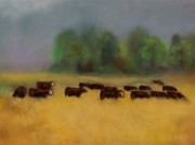 Cattle Pastels Prints - Moving on Print by Frances Marino