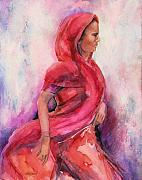 Indian Woman Prints - Moving On Print by Kate Bedell