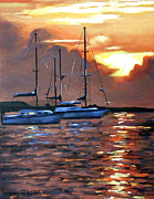 Sunset Seascape Mixed Media Prints - Moving Toward The Light Print by Anthony Falbo