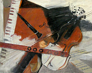 Music Score Paintings - Mozarts Trio by Jude Lobe