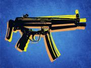 Machine Digital Art Prints - MP5 Sub Machine Gun on Blue Print by Michael Tompsett