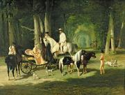 Ponies Paintings - Mr and Mrs A Mosselman and their Two Daughters by Alfred Dedreux