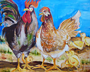 Suzanne Willis Metal Prints - Mr. and Mrs. Chicken Metal Print by Suzanne Willis