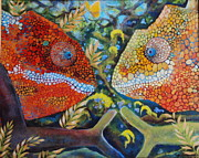 Chameleons Acrylic Prints - Mr. and Mrs. Dealmaker by Samantha Lockwood