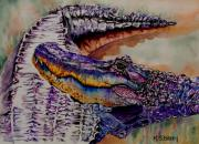 Alligator Paintings - Mr and Mrs by Maria Barry