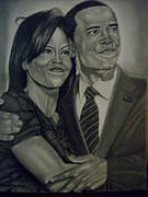 Michelle-obama Drawings Posters - Mr. And Mrs. Obama Poster by Handy