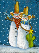 Cowboy Pastels Posters - Mr and Mrs Snowman Poster by Pat Olson