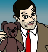 Caricature Digital Art Posters - Mr Bean and Teddy Poster by Jera Sky