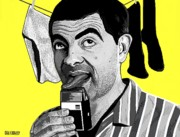 Portraits Paintings - Mr. Bean by Dan Lockaby