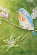 Bluebird Prints - Mr. Blue in trees Print by Kathryn Duncan