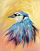 Bluejay Painting Metal Prints - Mr. Blue Metal Print by Patricia Piffath