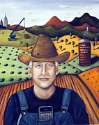 Overalls Posters - Mr Coopers Spinach Farm Poster by Leah Saulnier The Painting Maniac