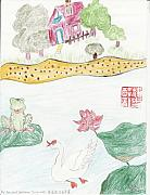 River View Drawings - Mr Frog and his Swan Song by Golden Dragon