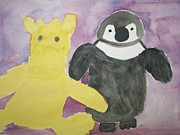 Toy Animals Painting Framed Prints - Mr G and Happy Feet Framed Print by Wynter Cox