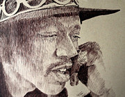 Robbi Musser Drawings - Mr. Hendrix by Robbi  Musser