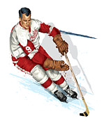 Puck Prints - Mr Hockey Gordie Howe Print by David E Wilkinson