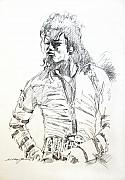 Celebrities Drawings Metal Prints - Mr. Jackson Metal Print by David Lloyd Glover