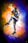 Hard Rock Framed Prints - Mr. Justin Verlander Framed Print by Nicholas  Grunas