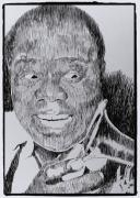 Music Legend Drawings Posters - Mr. Louis Armstrong Poster by Robbi  Musser
