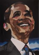 White House Painting Posters - Mr. Obama Poster by Chelsea VanHook