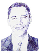 Barack Obama Drawings Metal Prints - Mr. President Metal Print by Benjamin McDaniel