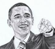 President Obama Drawings Framed Prints - Mr. President Framed Print by Kelly Tisdale