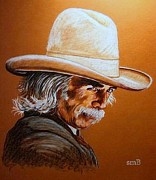 Western Pencil Drawing Posters - Mr. Scoresby Poster by Susan Bergstrom