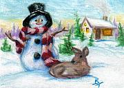 Snow Scene Drawings Originals - Mr. Snowman aceo by Brenda Thour