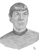 Spock Drawings Framed Prints - Mr. Spock Framed Print by Thomas J Herring