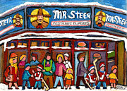 Hockey Players Paintings - Mr Steer Restaurant Montreal by Carole Spandau