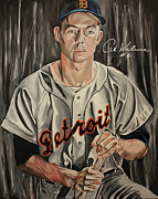 Detroit Tigers Art Paintings - Mr Tiger- Autographed by Kaline by David Courson