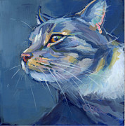 Gray Cat Paintings - Mr. Waffles by Kimberly Santini
