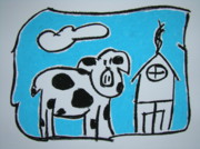 Yard Pastels Posters - Mr.Cow Poster by Pat  Lackenbauer