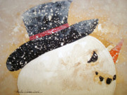 Frosty Mixed Media Posters - Mr.Frosty Poster by Paula Weber