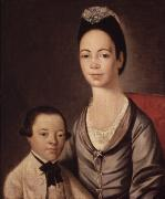 Jewish Paintings - Mrs. Aaron Lopez and her son Joshua by  Gilbert Stuart