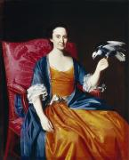 Dark   Hair Framed Prints - Mrs. Benjamin Hallowell Framed Print by John Singleton Copley