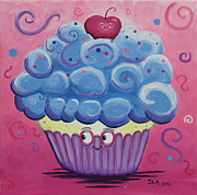 Frosting Framed Prints - Mrs. Blue Cupcake Framed Print by Jennifer Alvarez
