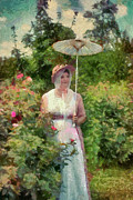 Re-enactor Framed Prints - Mrs. Calvert in Her Rose Garden Framed Print by Susan Isakson