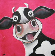 Moo Moo Paintings - Mrs Cow by Caroline Peacock