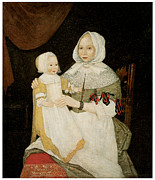 American Painters Framed Prints - Mrs. Elizabeth Freake and Baby Mary Framed Print by Freake Limner