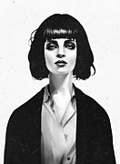 Portraits Glass Posters - Mrs Mia Wallace Poster by Ruben Ireland