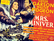 Frightened Couple Framed Prints - Mrs. Miniver, Greer Garson, Clare Framed Print by Everett