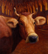 Yellow And Brown Posters - Mrs. OLearys Cow Poster by James W Johnson