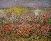 Flower Field Paintings - Mrs Russell Amongst the Flowers at Belle Isle by John Peter Russell